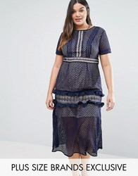 Truly You Tiered Premium Lace Midi Dress Navy