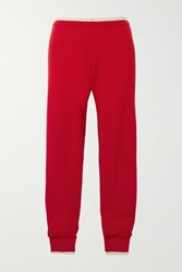 Madeleine Thompson Plutus Two Tone Cashmere Track Pants Red
