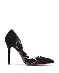 Reiss Tiber Lasercut Lace Illusion High Heel Pumps Black