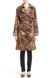 Dolce And Gabbana Women's Leopard Print Silk Trench Coat