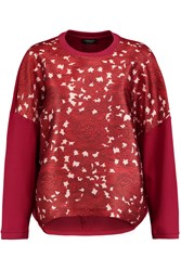 Giambattista Valli Floral Print Satin And Cotton Jersey Sweatshirt Red