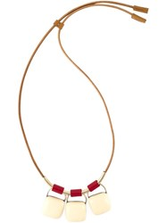 Marni Three Stone Pendant Necklace Nude And Neutrals
