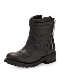 Ash Texas Napa Leather Motorcycle Boot Black