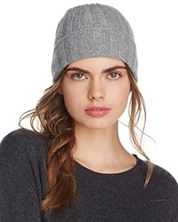 Bloomingdale's C By Elevated Ribbed Cashmere Cuff Hat 100 Exclusive Grey