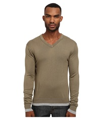 Michael Kors Tipped V Neck Sweater Sorrel Men's Long Sleeve Pullover Brown