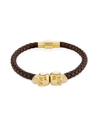 Northskull Brown Nappa Leather 18Kt. Gold Twin Skull Bracelet
