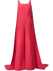 Rosie Assoulin 'Superhero Detachable Cape' Jumpsuit Red