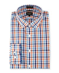 Neiman Marcus Trim Fit Non Iron Plaid Dress Shirt Orange Blu