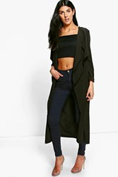 Boohoo Erin Premium Woven Waterfall Duster Black