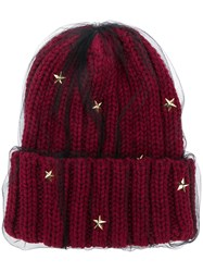 Ca4la Star Embellished Knitted Hat Red