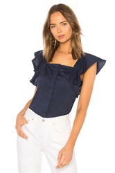 Kendall Kylie Ruffle Sleeve Top Navy