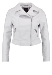 New Look Petite Faux Leather Jacket Light Grey