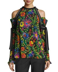 3.1 Phillip Lim Floral Cold Shoulder Top W Pleated Sleeves Black Multicolor