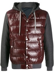 Eleventy Hooded Padded Jacket Red
