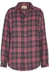 Current Elliott The Prep School Plaid Cotton Blend Shirt Claret