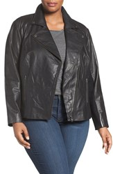 Sejour Plus Size Women's Leather Moto Jacket