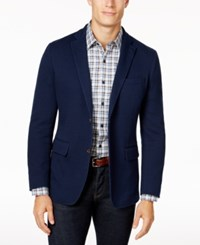 Tasso Elba Men's Classic Fit Stretch Knit Blazer Created For Macy's Navy Combo