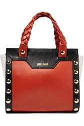 Just Cavalli Embellished Color Block Leather Tote Papaya