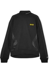 Adidas By Alexander Wang Originals Printed Embroidered Cotton Terry And Satin Jersey Sweatshirt Black