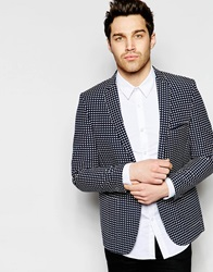 Vito Blazer With All Over Embroidery In Skinny Fit Navy