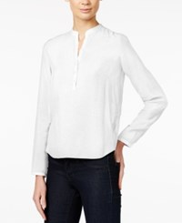 Armani Exchange Long Sleeve Colorblocked Shirt Solid White