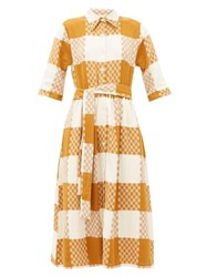Ace And Jig Coco Checked Cotton Midi Shirtdress Beige Multi
