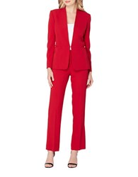 Tahari By Arthur S. Levine Solid Long Sleeve Jacket Red
