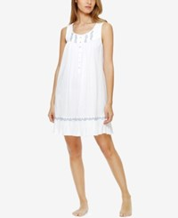 Eileen West Embroidered Knit Nightgown White