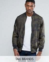 Jacamo Tall Bomber Jacket With Camo Print In Khaki Khaki Green