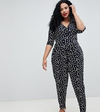 Asos Design Curve Wrap Jumpsuit With 3 4 Sleeve In Spot Multi
