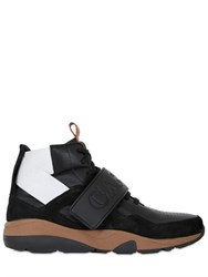 Casbia Reeve Leather And Suede High Top Sneakers