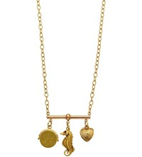 Annina Vogel 9Ct Yellow Gold Spinner Seahorse And Heart Charm Trio Necklace