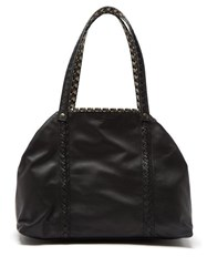 Bottega Veneta Reversible Butterfly Print Canvas And Leather Tote Black Multi