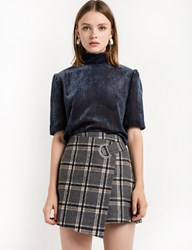 Pixie Market Grey Plaid Ring Wrap Mini Skirt 15 Off