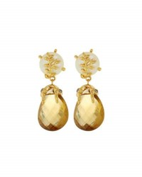 Indulgems Pearl And Whisky Quartz Double Drop Earrings Multi