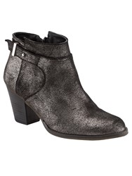 Phase Eight Mimi Metallic Leather Ankle Boots Grey