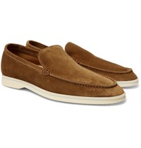 Loro Piana Summer Walk Suede Loafers Tan