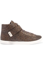 Dkny Betty Leather Paneled Printed Coated Canvas High Top Sneakers Brown