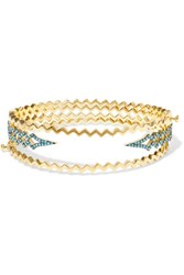 Noir Jewelry Ice Fall Set Of Three Gold Plated Turquoise Bracelets