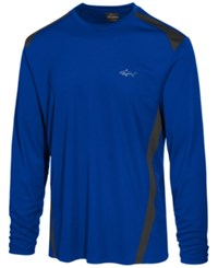 Greg Norman For Tasso Elba Men's Pieced Performance Long Sleeve T Shirt Created For Macy's Cargo Blue