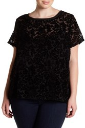 Lucky Brand Floral Burnout Tee Plus Size Black