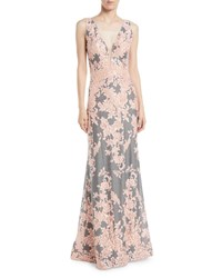 Jovani Plunging Floral Brocade Gown Gray Pink