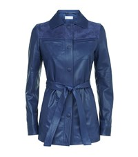 Escada Sport Latana Suede And Leather Belted Jacket Female Blue