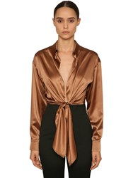 Alexandre Vauthier Knotted Stretch Satin Crop Top Brown