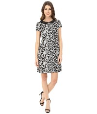 Jessica Simpson Jacquard Shift With Collar Black White Women's Dress