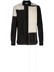 Rick Owens Cotton Panel Stud Embellished Shirt Black