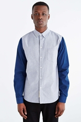 Native Youth Contrast Sleeve Oxford Button Down Shirt Navy