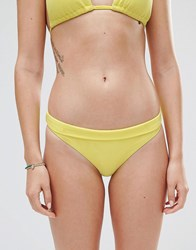 French Connection Textured Bikini Bottoms Lemon Sugar Yellow