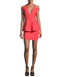 Milly Simona Cold Shoulder Peplum Cocktail Dress Red