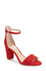 Vince Camuto Women's Corlina Ankle Strap Sandal Cherry Red Suede